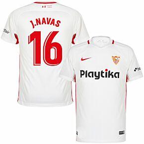 18-19 Sevilla Home Shirt + J.Navas 16 (Fan Style Printing)