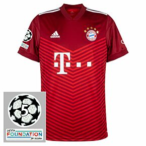 21-22 FC Bayern Munich Home Shirt + UCL 5 Times Winner Patches