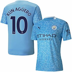20-21 Man City Home Shirt + Kun Agüero 10 (Premier League)