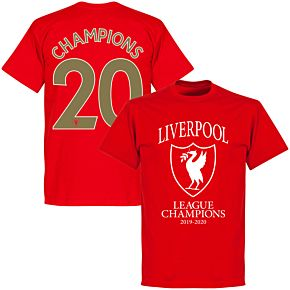"""Liverpool 2020 League Champions Crest """"Champions 20"""" KIDS T-shirt - Red"""