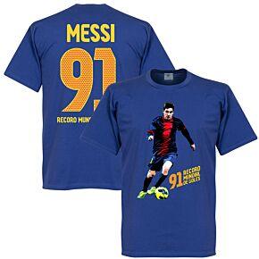 Messi 91 World Record Goals Tee - Royal