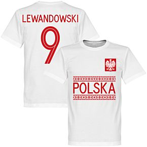 Poland Lewandowski 9 Team Tee - White