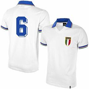 1982 Italy Away Shirt + No.6 (Retro Flock Printing)