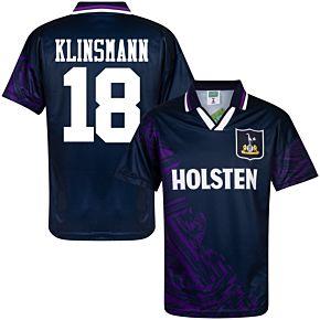 1994 Tottenham Away Retro Shirt + Klinsmann 18 (Retro Flock Printing)
