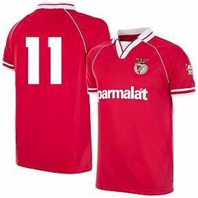 94-95 Benfica Home Retro Shirt + No.11 (Retro Flock Printing)