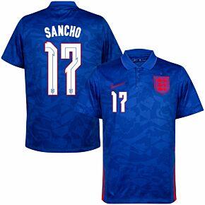 20-21 England Away Shirt + Sancho 17 (Official Printing)