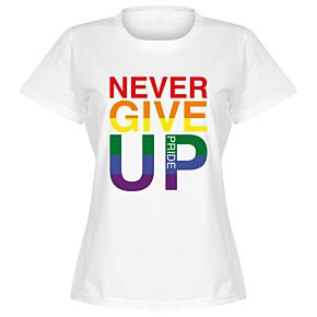 Never Give Up Pride Womens Tee - White
