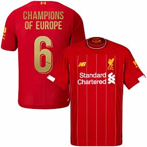New Balance Liverpool Home Jersey 2019-2020 inc Champions of Europe 6 Printing