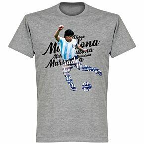 Maradona Script T-shirt - Grey Marl