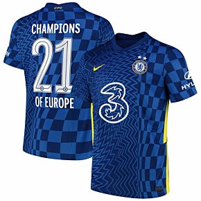 21-22 Chelsea Home Shirt + Champions of Europe 21 + 2 Stars (Official Print)