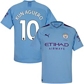Puma Man City Home Kun Agüero 10 Jersey 2019-2020 (Official Premier League Printing)