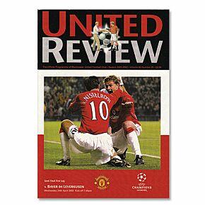 Man Utd vs Bayer Leverkusen - C/L Semi Final 1st Leg Match Program - April 24, 2002