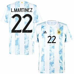 2021 Argentina Home Shirt + L.Martinez 22 (Official Printing)