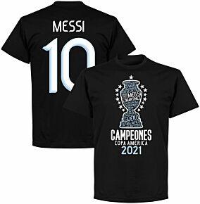 Argentina 2020 Copa America Champions Messi 10 KIDS T-shirt - Black