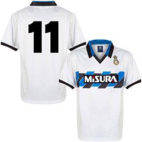 1990 Inter Milan Away Retro Shirt + No.11 (Retro Flock Printing)