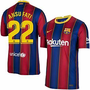 20-21 Barcelona Home Shirt + Ansu Fati 22 (Match Pro Printing)
