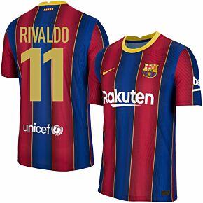 20-21 Barcelona Vapor Match Home Shirt + Rivaldo 11 (Retro Fan Style)