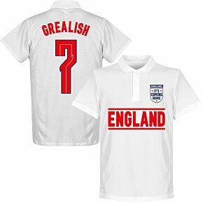 England Grealish 7 Team Polo Shirt - White