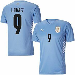 21-22 Uruguay Home Shirt + L.Suárez 9 (Official Printing)