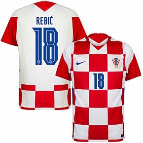 20-21 Croatia Home Shirt + Rebić 18 (Official Printing)