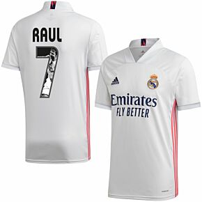 20-21 Real Madrid Home Shirt + Raul 7 (Gallery Style)