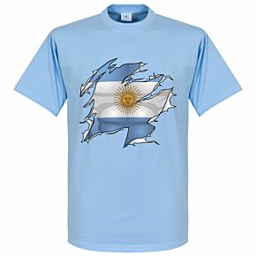Argentina Ripped Flag Tee - Sky