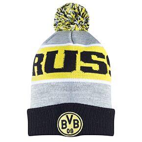 Borussia Dortmund Pom Beanie Hat - Grey/Black
