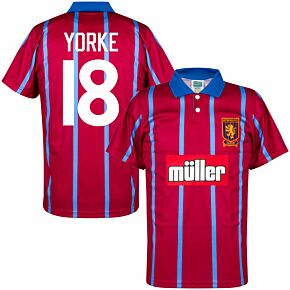 93-94 Aston Villa Home Retro Shirt + Yorke 18 (Retro Flock Printing)
