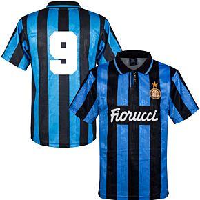 91-92 Inter Milan Home Retro Shirt + No.9 (Retro Flock Printing)