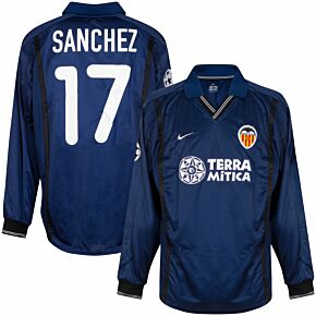 Nike Valencia 2000-2001 Away UCL L/S Sanchez 17 Players Jersey - NEW - Size Large