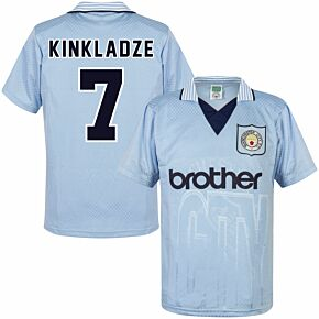 1996 Man City Home Retro Shirt + Kinkladze 7 (Retro Flex Printing)