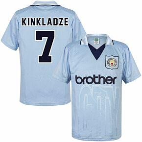 1996 Man City Home Retro Shirt + Kinkladze 7 (Retro Flex Printing)