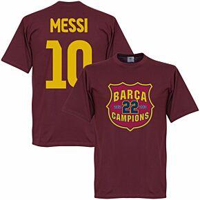 Barcelona Messi 10 Champions Crest Tee - Claret