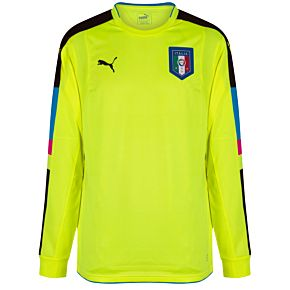 Puma Italy L/S Authentic Player Issue GK Shirt - Yellow 2016-2017