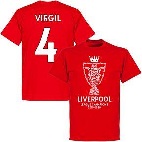 Liverpool 2020 League Champions Trophy Virgil 4 KIDS T-shirt - Red
