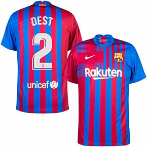21-22 Barcelona Home Shirt + Dest 2 (Official Printing)