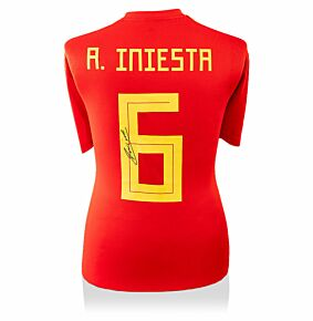 Andres Iniesta Signed Spain 18-19 Home Shirt (Back Signed)