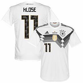 Germany Home Jersey 2018 / 2019 + Danke Miro Klose 11 Printing