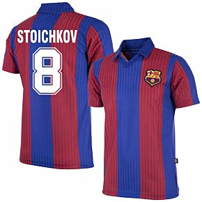 90-91 Barcelona Home Retro Shirt + Stoichkov 8 (Retro Flock Printing)