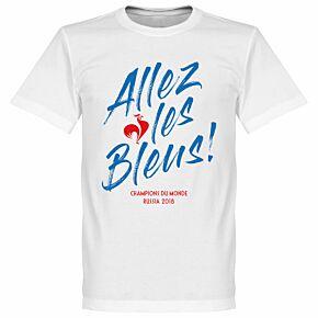France Allez les Bleus Russia 2018 Winners Tee - White