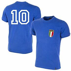 1970 Italy Home Retro Shirt + No.10 (Retro Flock Printing)