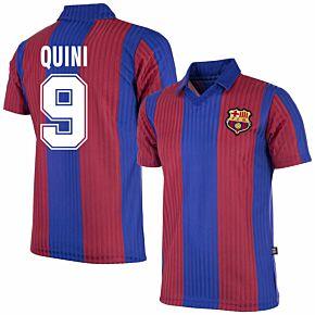 90-91 Barcelona Home Retro Shirt + Quini 9 (Retro Flock Printing)
