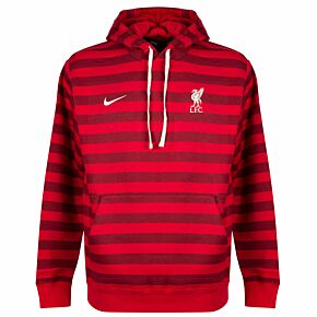21-22 Liverpool Stripe Hooded Sweat Top - Red