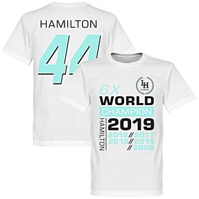 Hamilton 44 6x World Champion T-Shirt - White