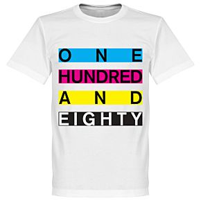 One Hundred and Eighty Banner Darts Tee - White
