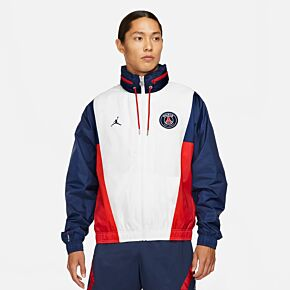 21-22 PSG x Jordan Nylon Hooded Jacket - White/Navy