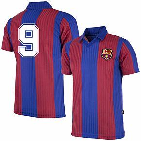 90-91 Barcelona Home Retro Shirt + No.9 (Retro Flock Printing)
