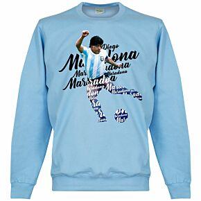 Maradona Script Sweatshirt - Sky Blue