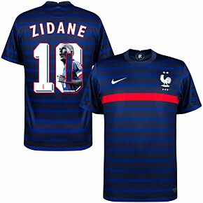 20-21 France Home Shirt + Zidane 10 (1998 Gallery Printing)