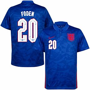 20-21 England Away Shirt + Foden 20 (Official Printing)